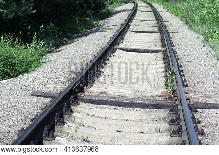 Well Maintained Railway Track For Non-passenger Special Purposes. Steel Rails On Concrete Sleepers.