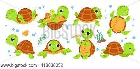 Turtle Characters. Cartoon Tortoise, Smile Turtles Running. Isolated Cute Animal Walking, Flat Green