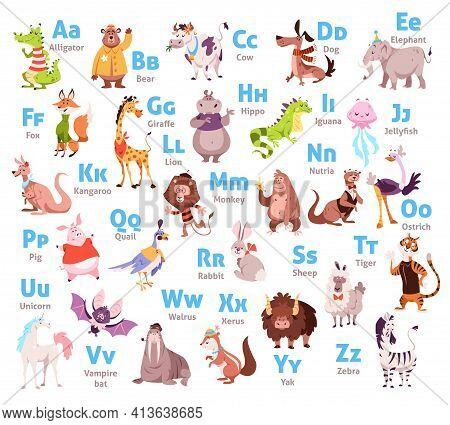 Cute Animal Alphabet. Color Kids Zoological Font, Letters And Corresponding Animals. Wildlife Mammal