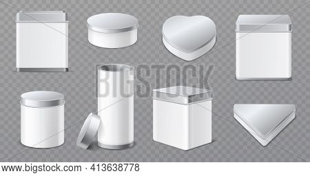 Metal Boxes. Realistic Tin Jars, 3d White And Aluminum Caps Containers, Products Blank Packaging, Te