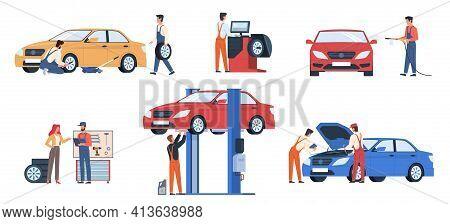 Car Service Workers. People In Repair Process, Mechanics Work Fix Breakdowns, Change Automobile Deta