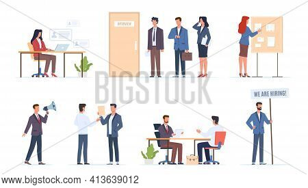 Hr Employer Interview. Job Hiring Talents, Managers Talk Seekers, People Finding Work Process, Owner