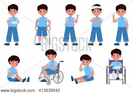Childhood Injuries Types. Traumatized Child, Crying Boy, Special Needs Kid In Wheelchair, Broken Bod