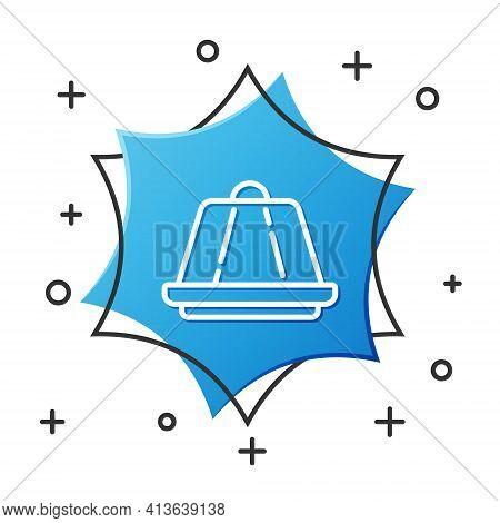 White Line Pudding Custard With Caramel Glaze Icon Isolated On White Background. Blue Hexagon Button