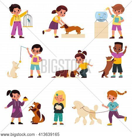 Kids With Pets. Children With Domestic Animals, Pet And Little Owner, Cats And Dogs, Birds And Fish,