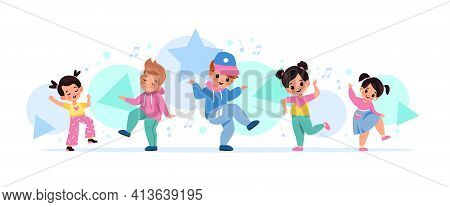 Children Dancing. Happy Kids Move To Melody Together, Little Music Fans, Cute Boys And Girls Among N