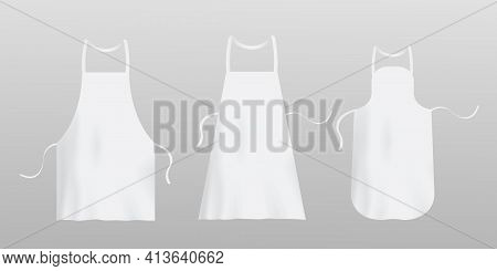 Template Of White Blank Chef Aprons, Realistic Vector Illustration Isolated.