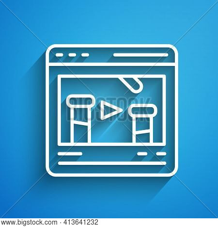 White Line Chemical Experiment Online Icon Isolated On Blue Background. Scientific Experiment In The