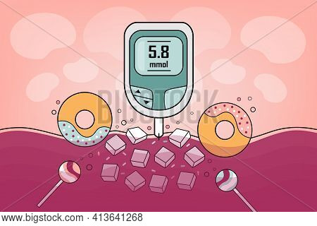 Diabetes Medical Illustration, Chronic, Metabolic Disease By Elevated Levels Of Blood Glucose. Check