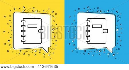 Set Line Notebook Icon Isolated On Yellow And Blue Background. Spiral Notepad Icon. School Notebook.