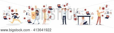 Worried Upset People Characters Feeling Stress Of Information Overload, Flat Vector Illustration Iso
