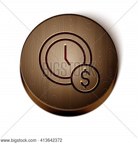 Brown Line Time Is Money Icon Isolated On White Background. Money Is Time. Effective Time Management