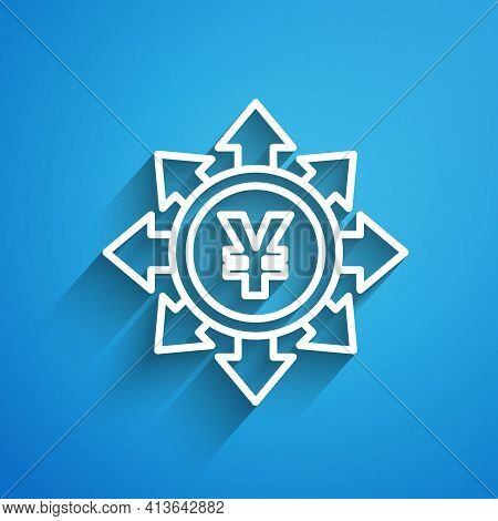 White Line Coin Money With Yen Symbol Icon Isolated On Blue Background. Banking Currency Sign. Cash