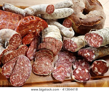 Assortment Of Different Sliced Salamis