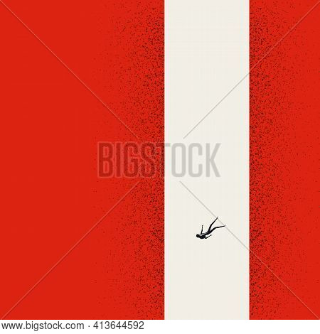 Depression And Anxiety Vector Concept With Woman Falling Down Abyss. Symbol Of Personal Crisis. Mini