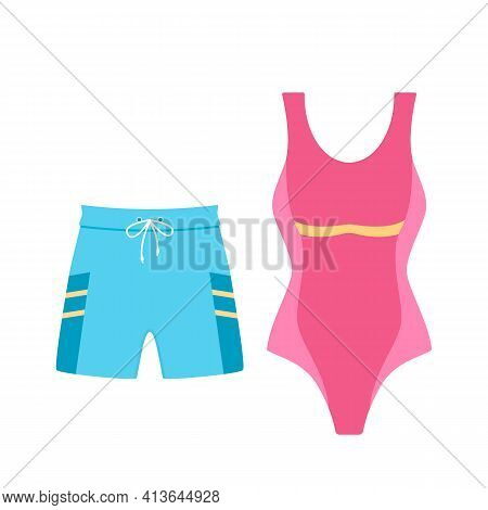 Set Of Women's Swimsuit And Men's Swimming Trunks Shorts For Swimming. Vector Illustration Isolated