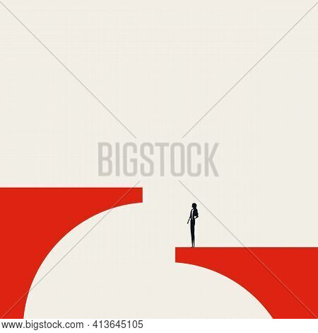 Business Challenge Vector Concept. Symbol Of Solution, Overcoming Obstacle For Women. Minimal Illust