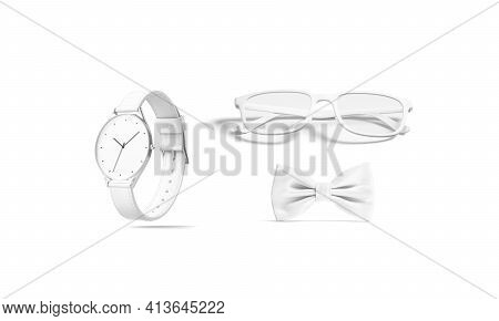 Blank White Bow Tie, Glasses And Watch Mokup, Isolated, 3d Rendering. Empty Wristwatch, Eyeglasses A