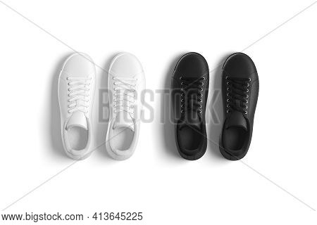 Blank Black And White Leather Sneakers With Lace Mockup, Isolated, 3d Rendering. Empty Breathable Sp