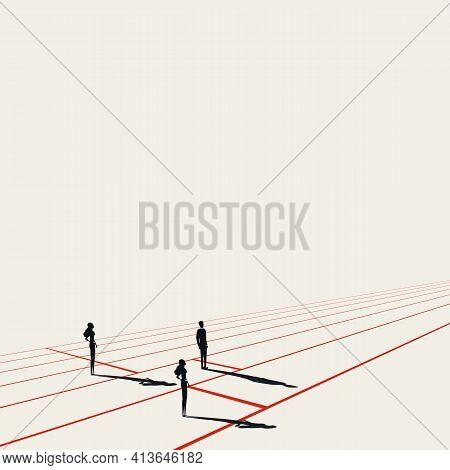 Business Discrimination Vector Concept. Woman At Disadvantage. Symbol Of Inequality. Minimal Illustr