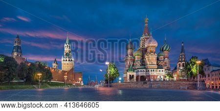 Moscow, Russia. Hdr Panorama Of Red Square With Saint Basil Cathedral And Spasskaya Tower At Dusk