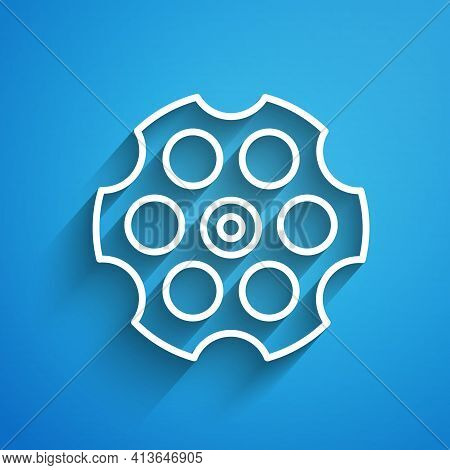 White Line Revolver Cylinder Icon Isolated On Blue Background. Long Shadow. Vector