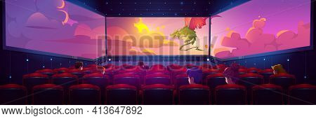 Empty Movie Theater Hall With Panoramic Screen