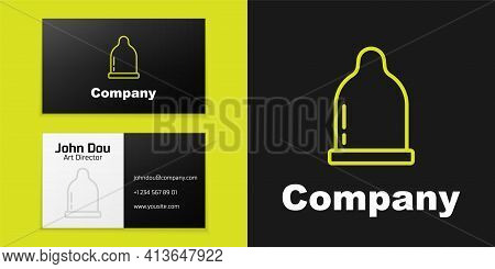 Logotype Line Condom Icon Isolated On Black Background. Safe Love Symbol. Contraceptive Method For M