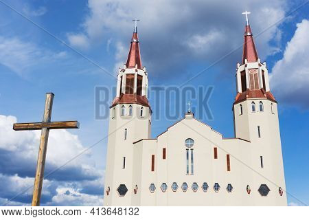 Our Lady Of The Rosary Church In Bialystok City In Poland. White Catherdal Building. Blue Cloudy Sky