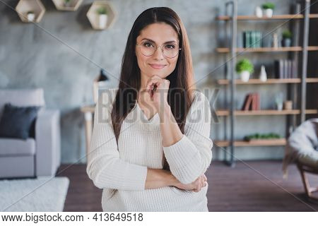 Photo Of Minded Smart Business Lady Finger Chin Wear Spectacles White Pullover In Living Room Home I