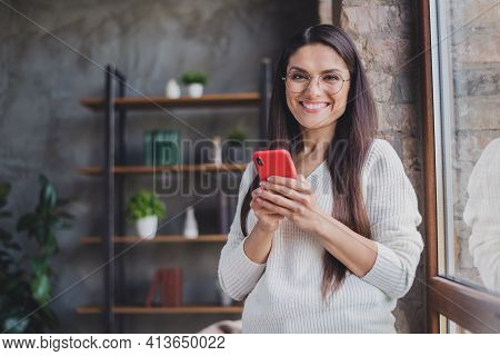 Photo Of Charming Attractive Happy Positive Cheerful Smiling Good Mood Woman In Glasses Using Smartp