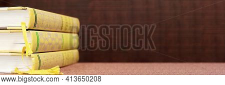 Banner With Wide Bookshelf And A Stack Of Hardcovered Books With Bookmarks. Literature Background Wi