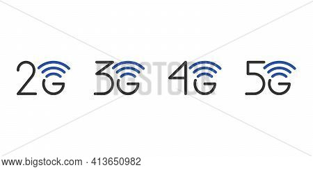 2g 3g 4g 5g Network Connection Business Symbol Set. 5th Generation And Lower Wireless Internet Techn
