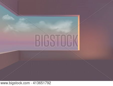 3d Room With A Window Overlooking The Sea, Clouds And Sunset. Vector Graphics