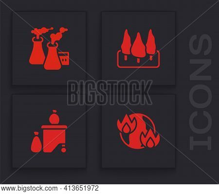 Set Global Warming Fire, Smoke From Factory, Forest And Full Dustbin Icon. Vector