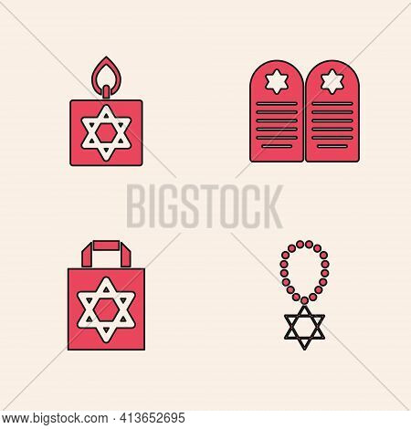 Set Star Of David Necklace On Chain, Burning Candle, Tombstone With Star David And Shopping Bag Icon