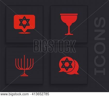 Set Star Of David, , Jewish Goblet And Hanukkah Menorah Icon. Vector