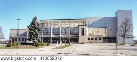 Kitchener, Ontario, Canada - November 6: A Panorama Of The Kitchener Memorial Auditorium  On [novemb