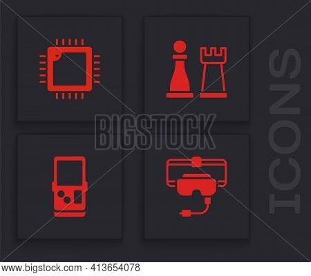 Set Virtual Reality Glasses, Processor With Cpu, Chess And Tetris Icon. Vector