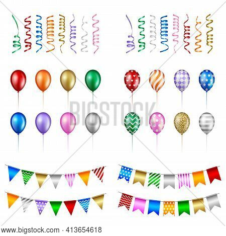 Set Of Party Elements. Isolated Streamers Balloons And Pennants