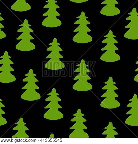 Vector Seamless Pattern With Green Fir Trees. Black Background. Cartoon Style. Spring And Summer. Na