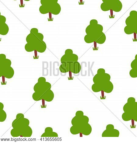 Seamless Pattern With Green Deciduous Trees. Brown Trunk. White Background. Cartoon Style. Spring An