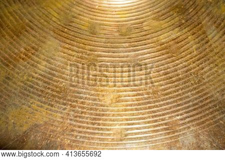Old Drum Cymbal Surface Texture For Background And Design