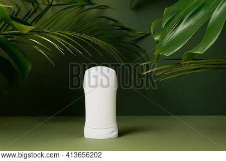 Deodorant Or Antiperspirant On Green Background With Tropical Palm Leaves, Template. Natural Organic