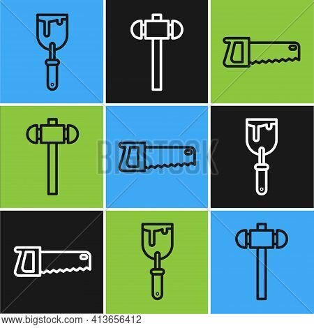 Set Line Putty Knife, Hand Saw And Sledgehammer Icon. Vector