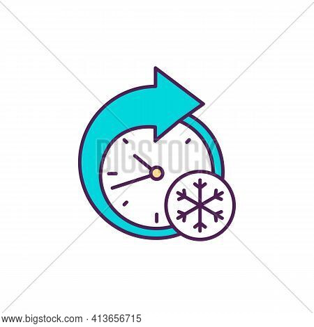 Winter Season Rgb Color Icon. Freezing, Plunging Temperatures. Seasonal Influenza. Coldest Year Time