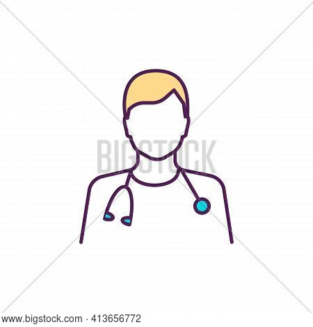 Healthcare Worker Rgb Color Icon. Nursing And Medical Assistant. Health Aide. Counseling, Support. C