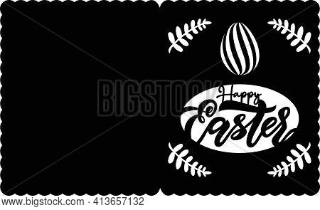 Easter Paper Cut Car D With Lettering With Brunch, Egg. Vector Illustration. Ready For Hand Cutting.