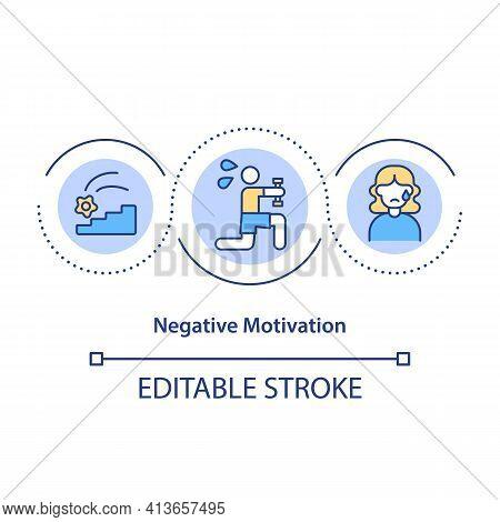 Negative Motivation Concept Icon. Punishment For Poor Performance Idea Thin Line Illustration. Negat