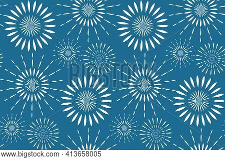 Happy Israel Independence Day Seamless Pattern With Fireworks. Jewish Holidays Endless Background, T